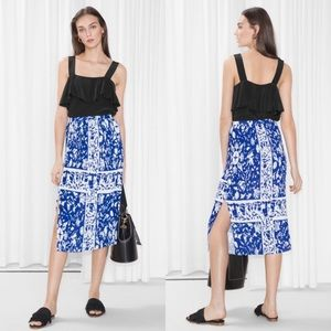 & Other Stories | Skirt Pleated Panel Midi Blue 4